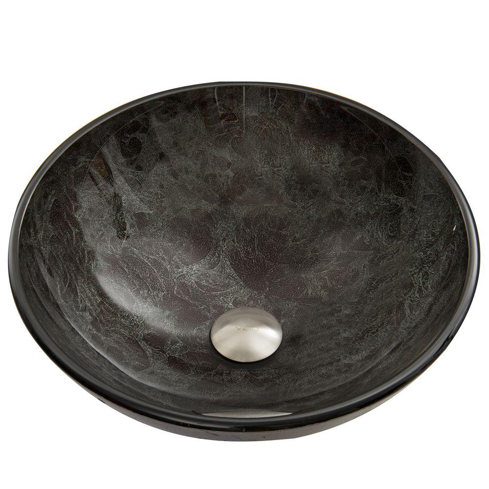 Vigo Glass Vessel Sink In Gray Onyx Vg07051 The Home Depot