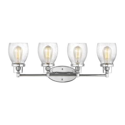 Belton 28.75 in. 4-Light Chrome Vanity Light with Clear Seeded Glass Shades