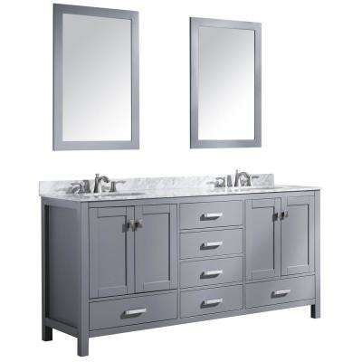 Chateau 72 in. W x 36 in. H Bath Vanity in Gray with Marble Vanity Top in Carrara White with White Basins and Mirrors