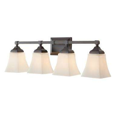 Delancy 4-Light Distressed Bronze Sconce with White Frosted Glass Shades