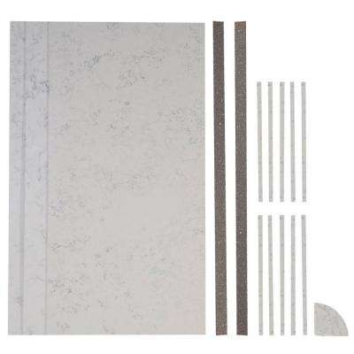 48 in. x 48 in. x 88 in. 17-piece Retro Fit Over Existing Shower Surround in Worthington White/Silver Storm