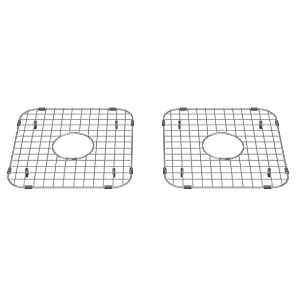 Delancey 13 in. x 13-3/8 in. Double Bowl Apron Sink Grid in Stainless Steel (Set of 2)