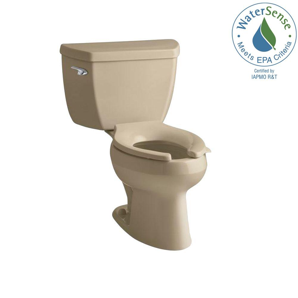 KOHLER Wellworth 2-Piece Pressure Lite Elongated Toilet in Mexican Sand-DISCONTINUED
