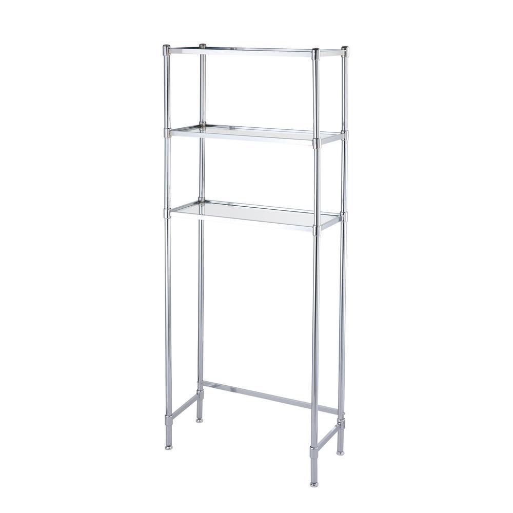 10.75 in. x 24.25 in. x 63.5 in. 3 Tier Glass Shelf Space Saver