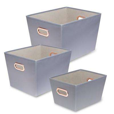 60 Qt. Gray with Copper Handles Canvas Tote (Set of 3)