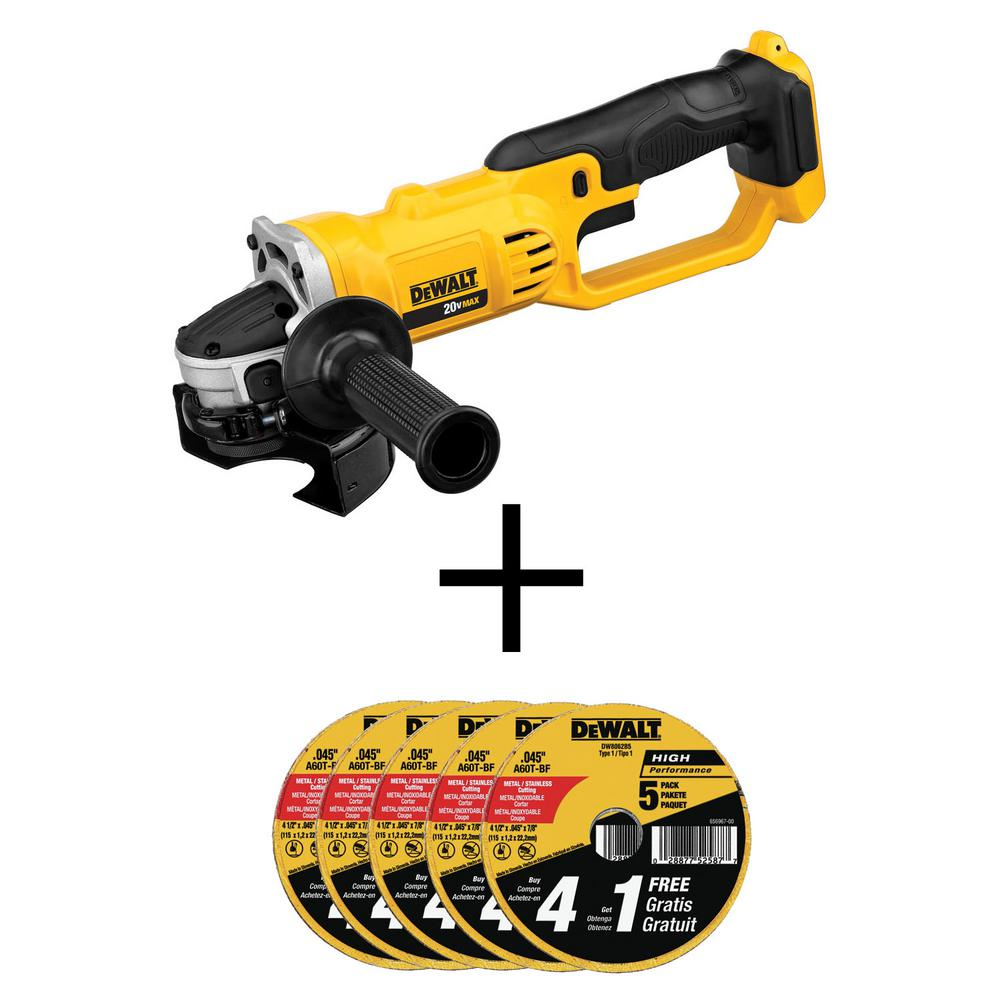 DEWALT 20-Volt MAX Cordless 4-1/2 in. to 5 in. Grinder (Tool-Only) with Bonus Metal and Stainless Cutting Wheel (25-Pack)