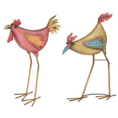 Hen and Rooster Garden Statue