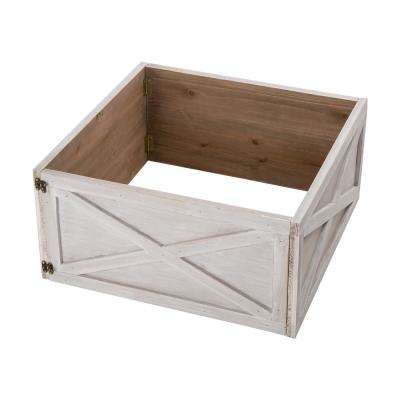 22.09 in. L Washed White Wooden Tree Collar (KD)