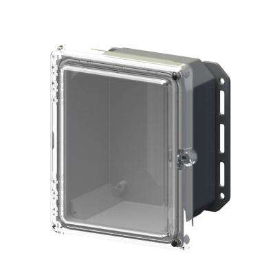 9.7 in. L x 8.2 in. W x 5.5 in. H Polycarbonate Clear Hinged Screw Top Cabinet Enclosure with Gray Bottom