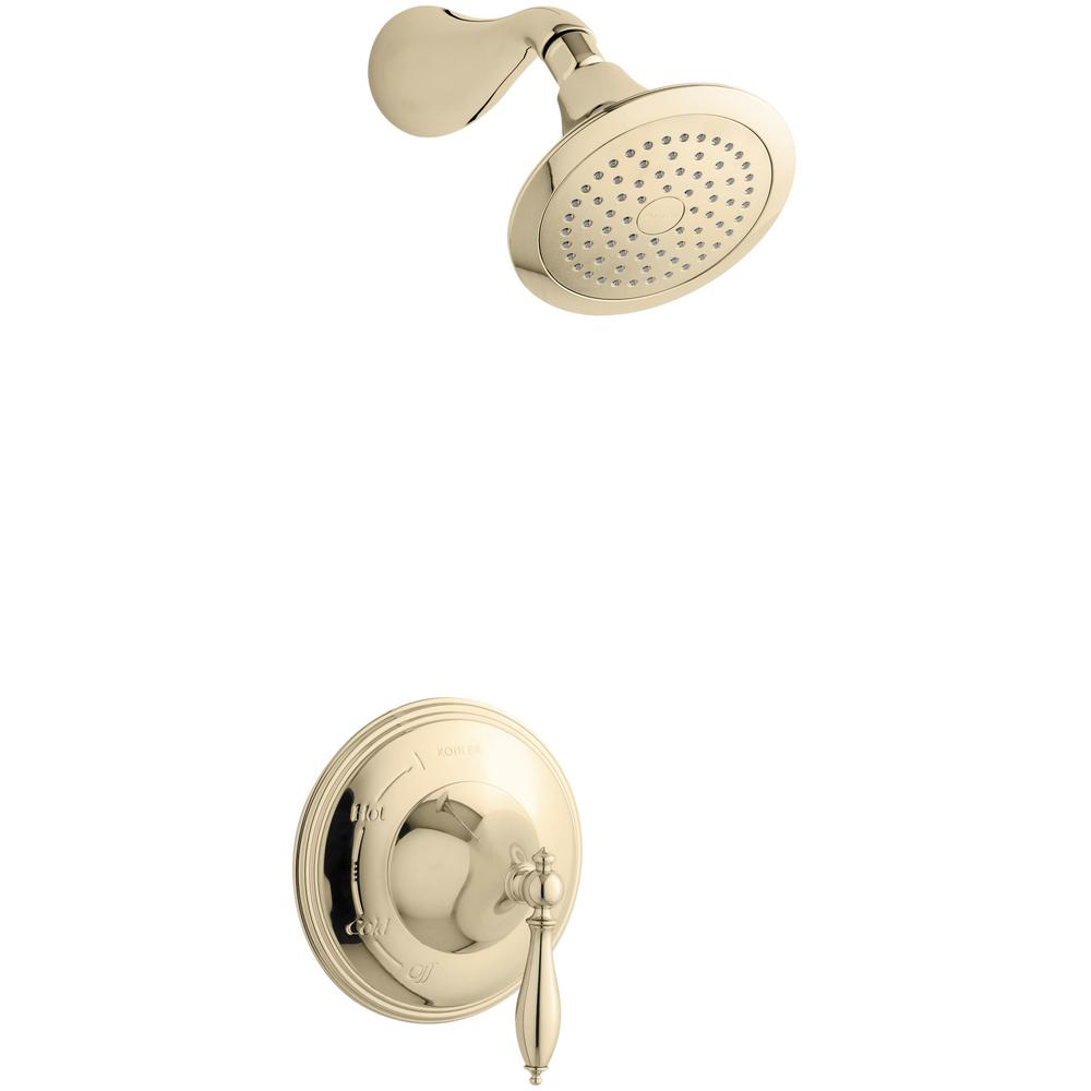 Finial 1-Handle Shower Faucet Trim Kit in Vibrant French Gold (Valve Not Included)