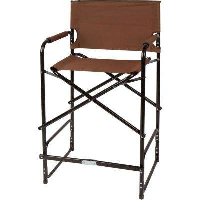 43 in. Brown Steel Folding Tall Director's Chair
