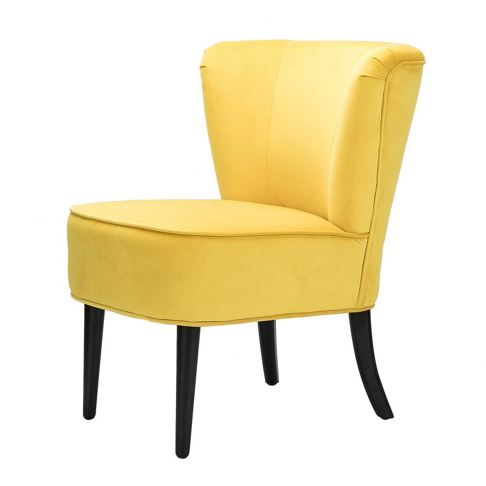 28.9-in H Yellow Velvet Contemparory Side Chair