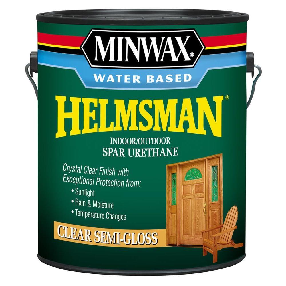 1 gal. Clear Semi-Gloss Water Based Helmsman Indoor/Outdoor Spar Urethane (2-Pack)