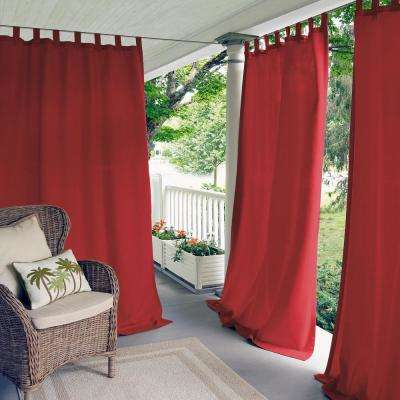 Matine Red Indoor/Outdoor Window Curtain Panel - 52 in. W x 95 in. L