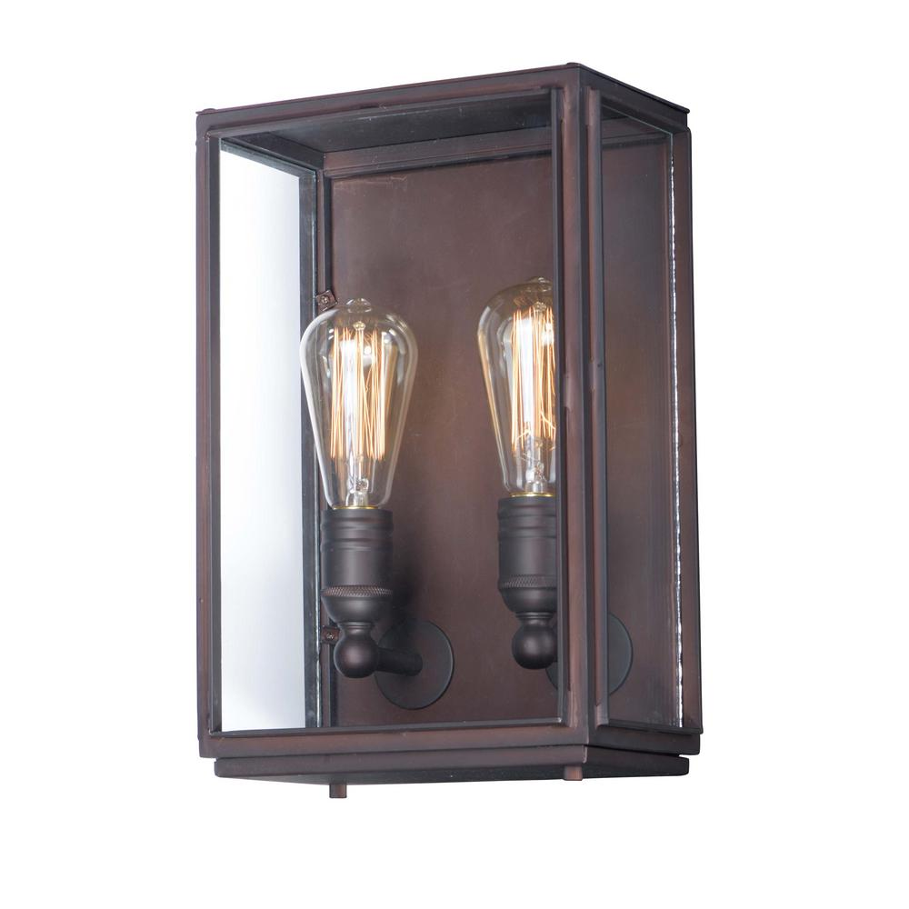 Maxim Lighting Pasadena 9 In W 2 Light Oil Rubbed Bronze Outdoor Wall Lantern Sconce