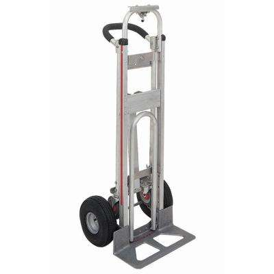 500 lb. Capacity Aluminum 3 Position Truck, loop handle 27 in. Recessed Folding Nose Plate and 4-ply Pneumatic Wheels