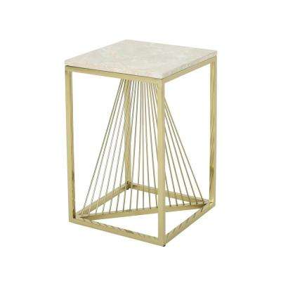 Arvid Modern Light Gray Faux Marble Accent Table with Champagne Gold Steel Frame