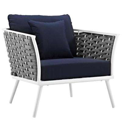 Stance White Aluminum Outdoor Lounge Chair with Navy Cushions