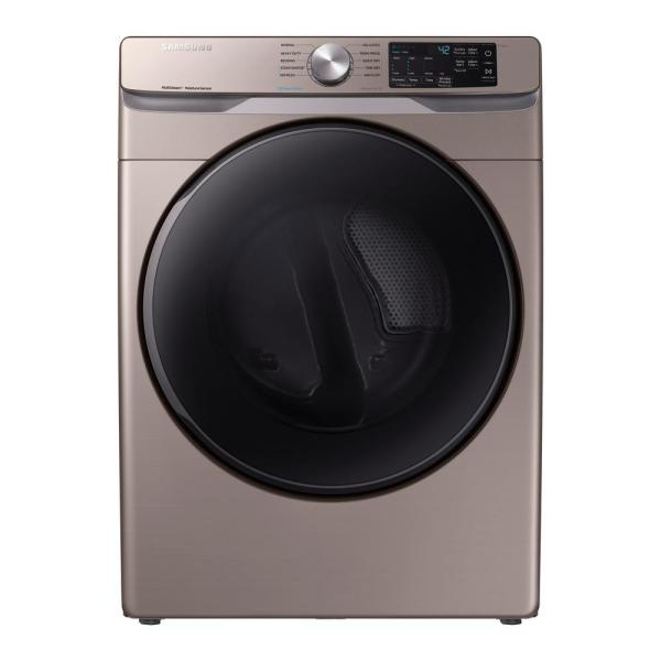 Samsung 7 5 Cu Ft Champagne Electric Dryer With Steam Dve45r6100c The Home Depot