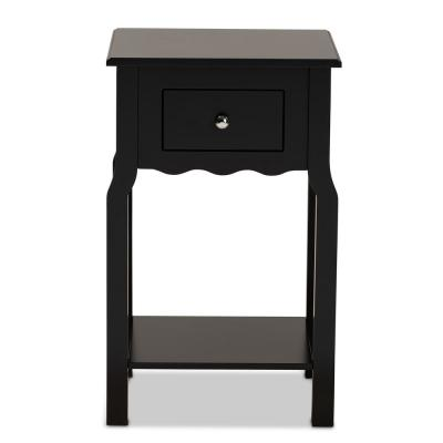 1-Drawer Hailey Black and Silver Nightstand