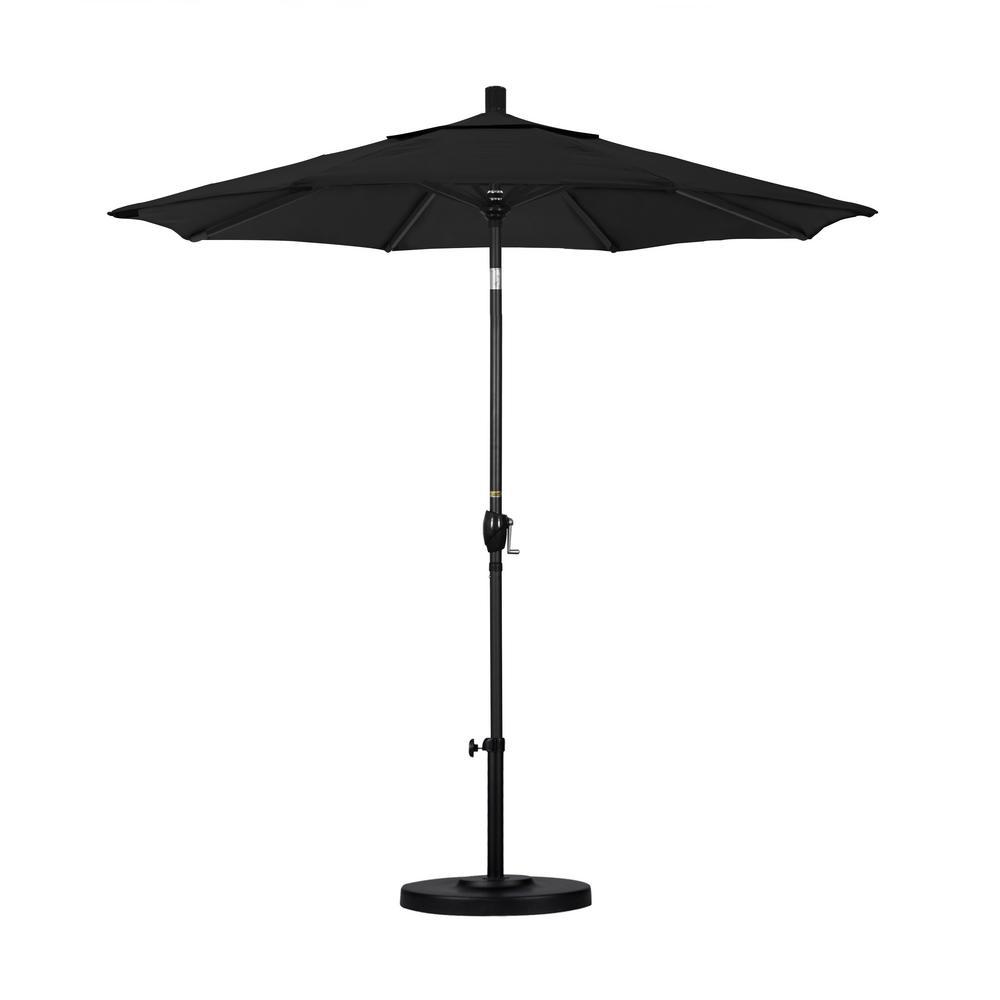 7.5 ft. Black Aluminum Pole Market Aluminum Ribs Push Tilt Crank Lift Patio Umbrella in Black Sunbrella