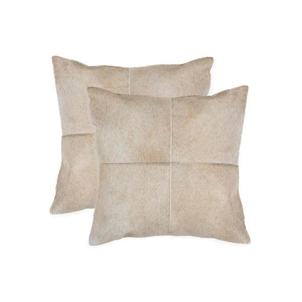 natural Torino Quattro Cowhide 18 in. x 18 in. Natural Pillow (Set of 2)