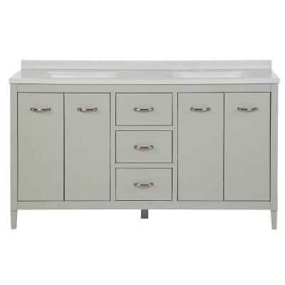 Marrett 60.5 in. W x 18.75 in. D Bath Vanity in Light Gray with Solid Surface Vanity Top in Snow with White Basin