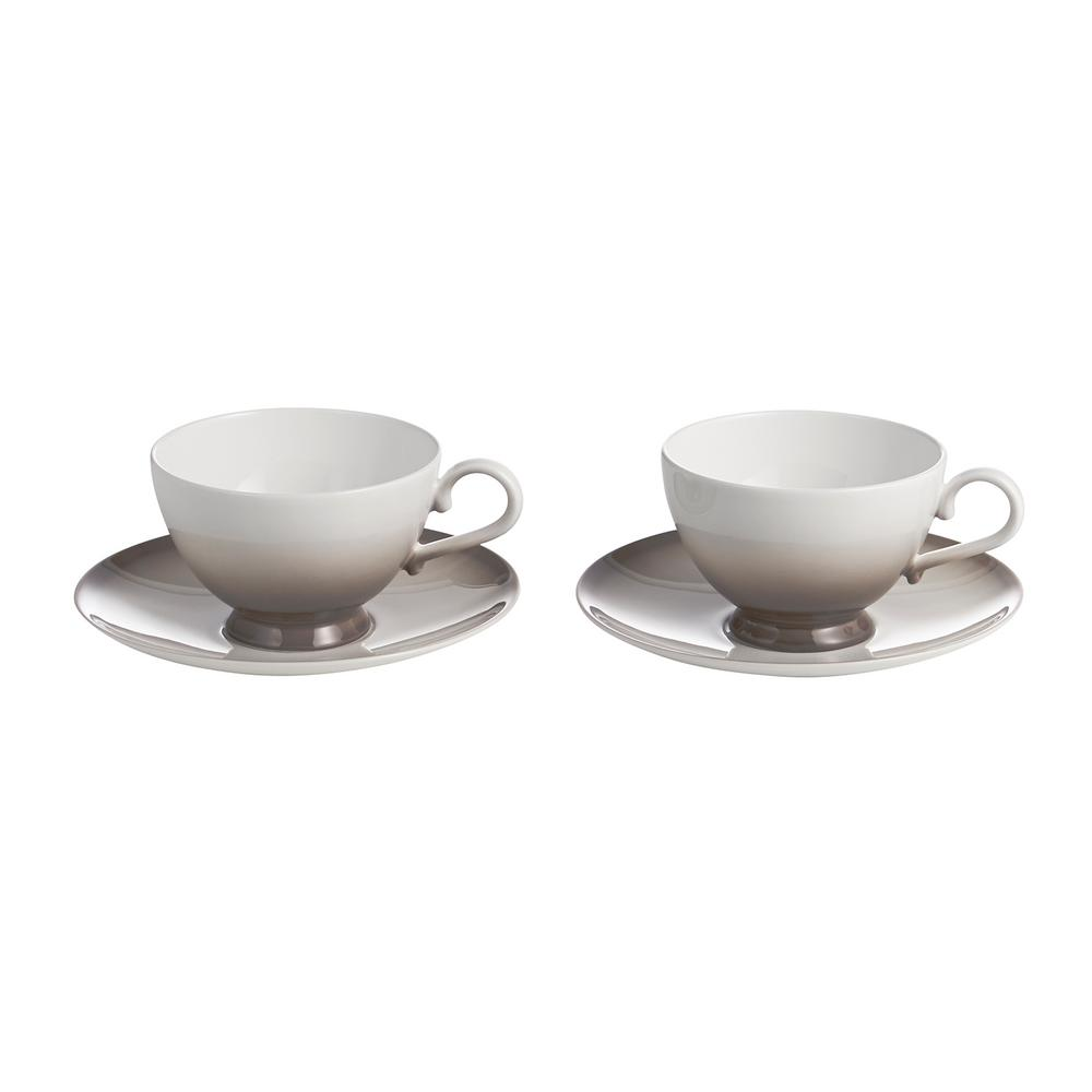 Auratic Aladdin Grey Cup And Saucer (Set Of 2)-15-00335