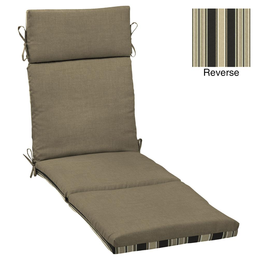 Selections by Arden Sandstone Leala Texture Outdoor Chaise Lounge Cushion  sc 1 st  Home Depot : chaise lounge cushions home depot - Sectionals, Sofas & Couches