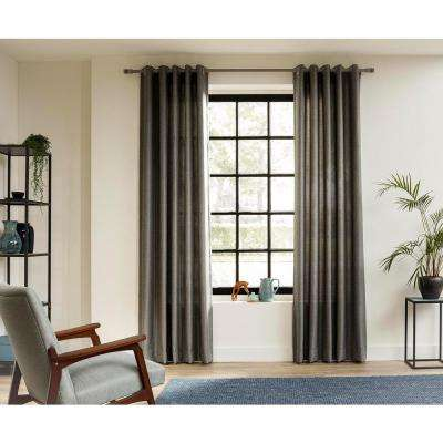 95 in. Intensions Curtain Rod Kit in Smoke with Wood-Fabric Finials and Open Brackets
