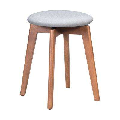 Billy 19.3 in. Walnut and Light Gray Stool (Set of 2)