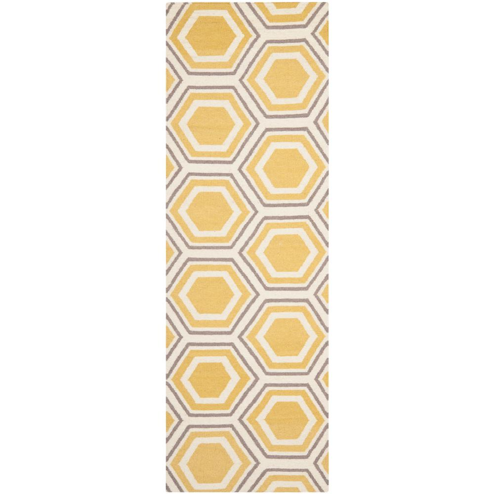 Dhurries Ivory/Yellow 2 ft. 6 in. x 12 ft. Runner