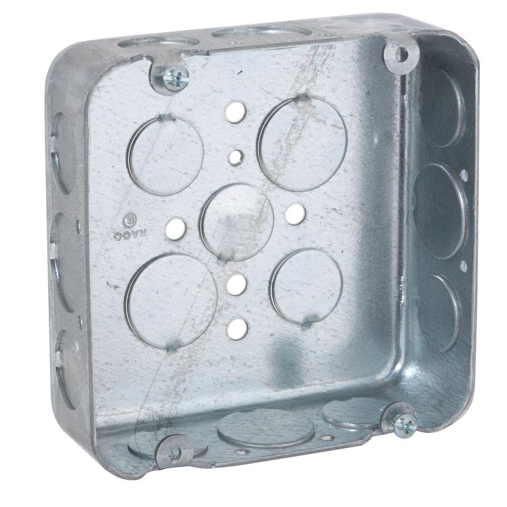 raco 4 11 16 in square drawn box 1 1 2 in deep with 1 2 3 4 in