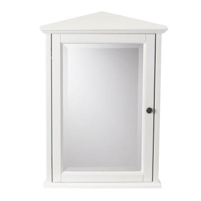 Hamilton 20 in. W x 27 in. H Surface-Mount Corner Wall Medicine Cabinet in Ivory
