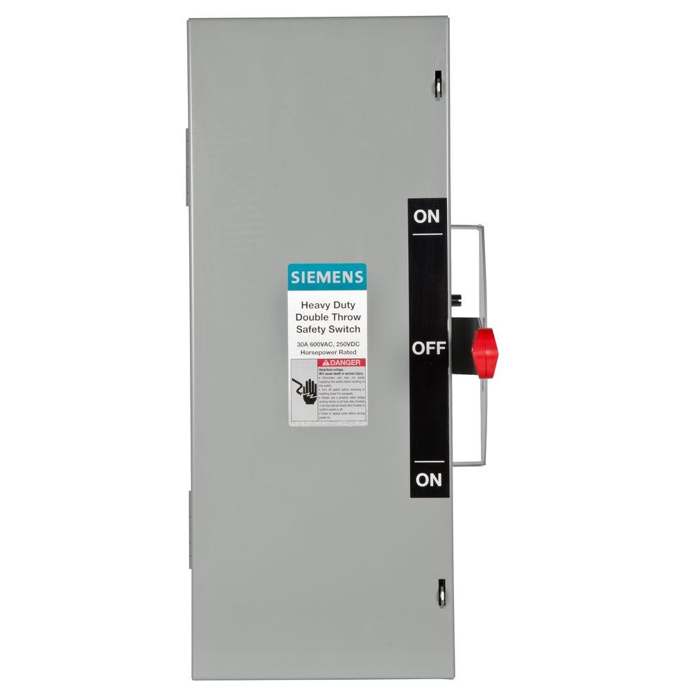 Siemens Double Throw 30 Amp 600-Volt 3-Pole Indoor Non-Fusible ...