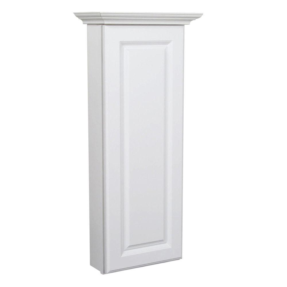 MasterBath Raised Panel 12 in. W Wall Hutch Cabinet in Satin White