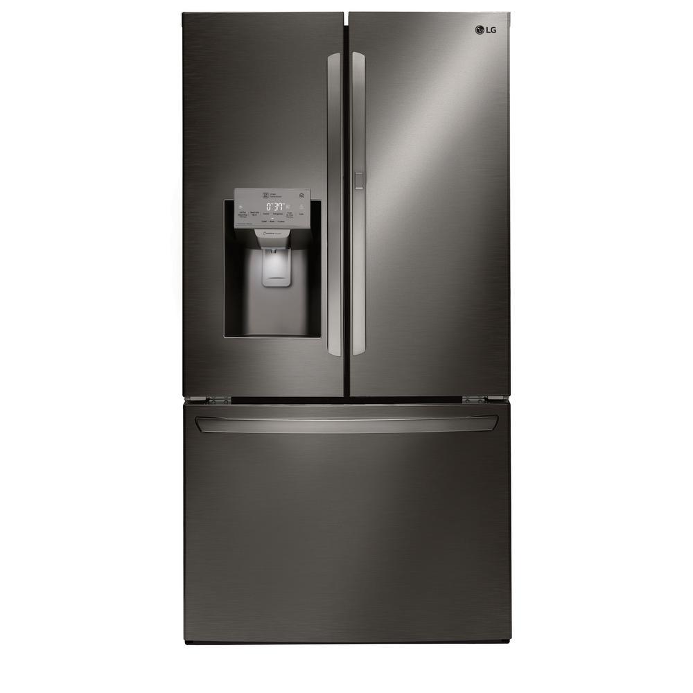 27.7 cu. ft. French Door Smart Refrigerator with Door-in-Door and WiFi Enabled in Black Stainless Steel