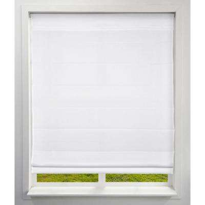 Cloud White Cordless Bottom Up Light-Filtering Fabric Roman Shade 34 in. W x 60 in. L (Actual Size)