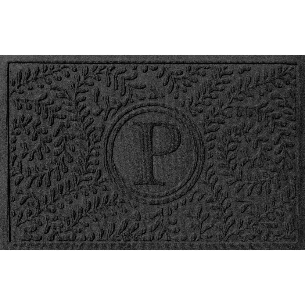 Bungalow Flooring Boxwood Charcoal 24 in. x 36 in. Monogram P Door Mat
