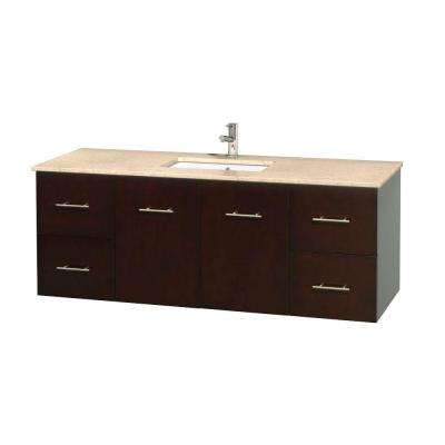 Centra 60 in. Vanity in Espresso with Marble Vanity Top in Ivory and Undermount Sink