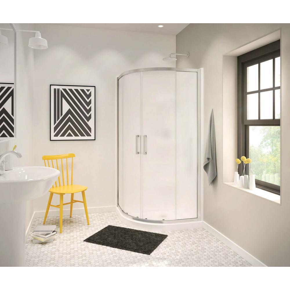 MAAX Radia 32 in. x 32 in. x 71-1/2 in. Frameless Neo-Round Sliding Shower Door with Mistelite Glass in Brushed Nickel