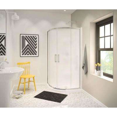 Radia 32 in. x 32 in. x 71-1/2 in. Frameless Neo-Round Sliding Shower Door with Mistelite Glass in Brushed Nickel