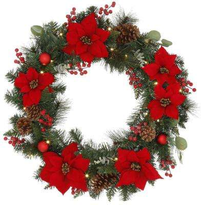 30 in Berry Bliss Battery Operated Mixed Pine LED Pre-Lit Artificial Wreath with Time