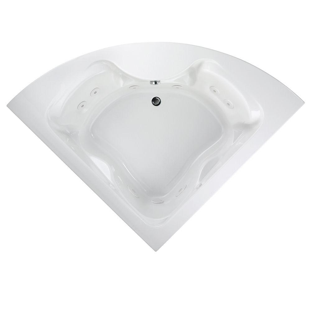 EverClean Cadet 85 in. x 60 in. Center Drain Corner Whirlpool Tub in White