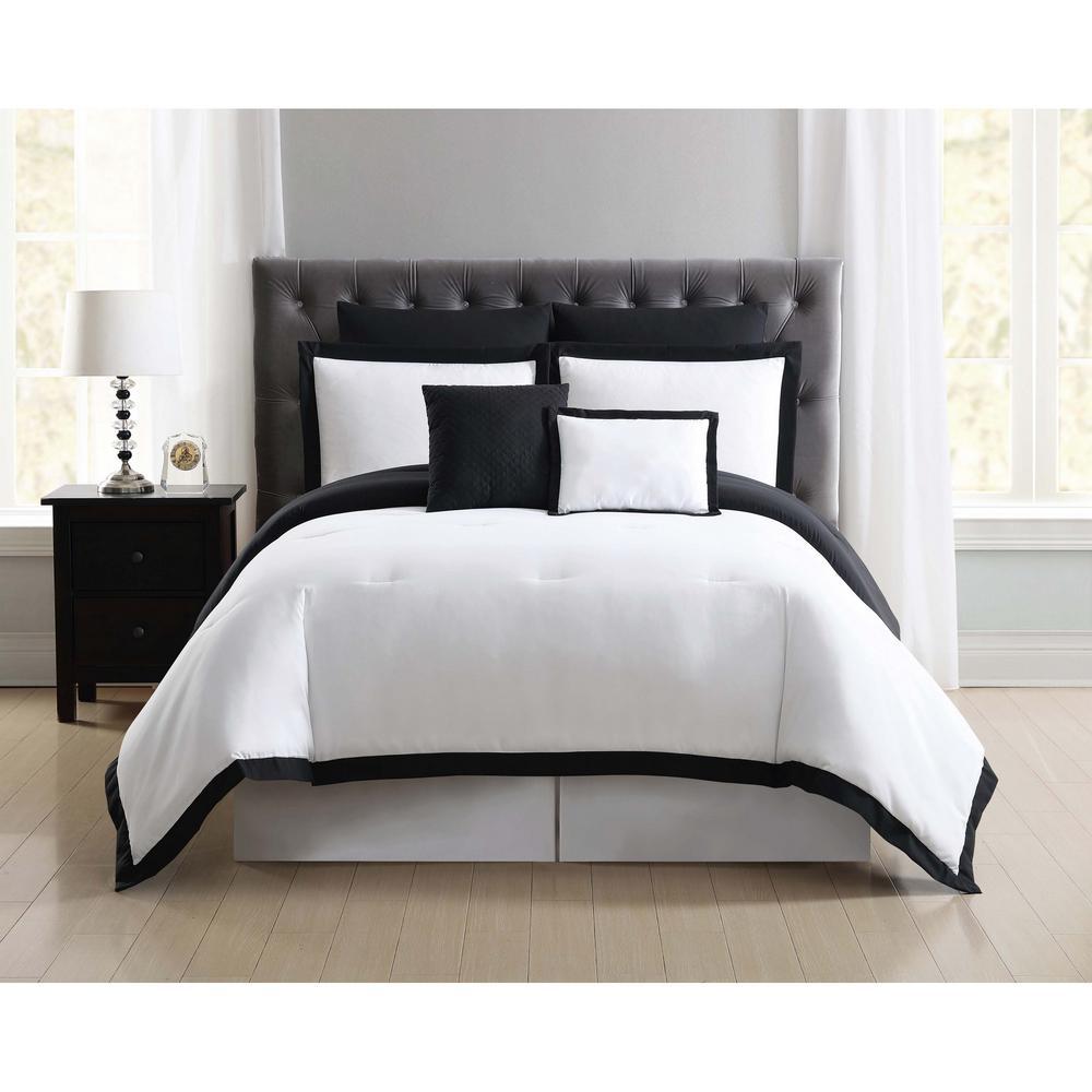 Everyday Hotel Border White and Black 7 Piece King Comforter Set