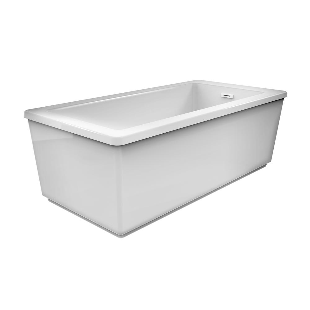 JACUZZI PROJECTA 60 in. Acrylic Freestanding Flatbottom Reversible Soaking Bathtub in White