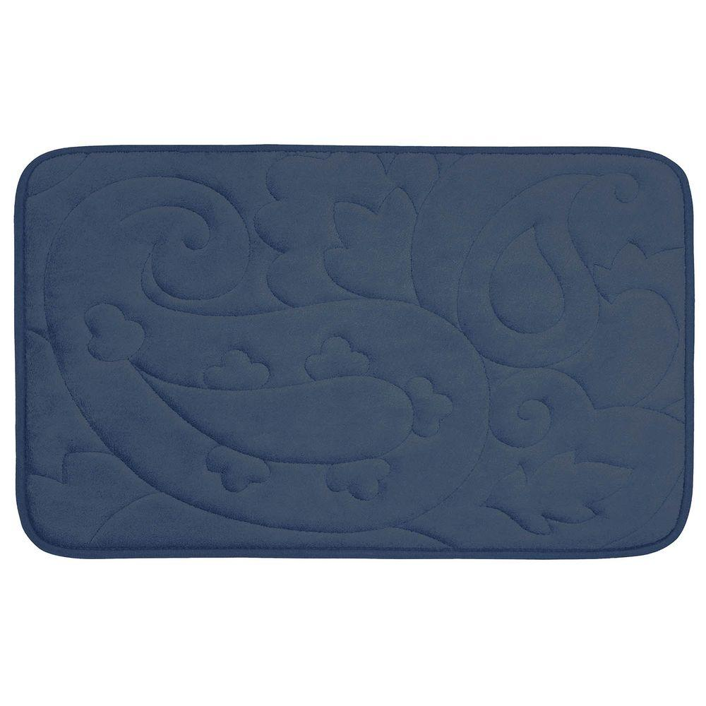 Pelton Dusty Blue 20 in. x 32 in. Memory Foam Bath