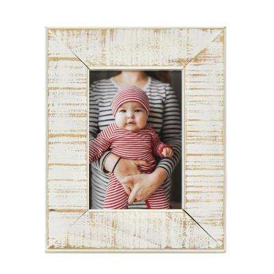 Dennis Weathered White 4 in. x 6 in. Wooden Picture Frame (Set of 2)