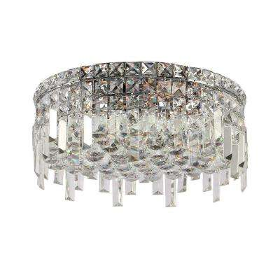 Cascade Collection 5-Light Crystal and Chrome Ceiling Light