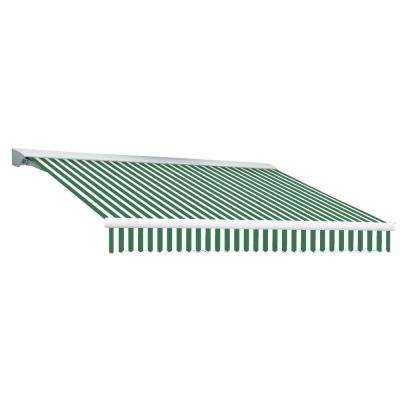 14 ft. DESTIN EX Model Right Motor Retractable with Hood Awning (120 in. Projection) in Forest Green and White Stripe